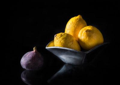 Zitronen Feigen Silberschale Produktfotografie