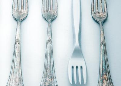 Silbergabeln Plastik Gabel Produktfotografie