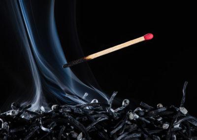 Streichholz Rauch Produktfotografie